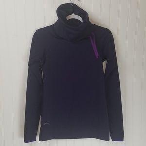 Nike Pro Purple Dri Fit Funnel Neck Thumb Holes
